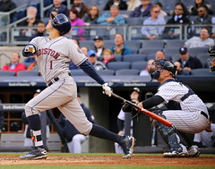 Carlos Correa swings at a pitch (apardavila) Tags: sports baseball yankeestadium mlb houstonastros majorleaguebaseball carloscorrea