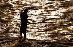 Fishing at Sunset (JooPedro64 (50%)) Tags: sunset pordosol sea monochrome mar reflex fishing nikon pesca reflexo dx monocromtico d7200 18140mm