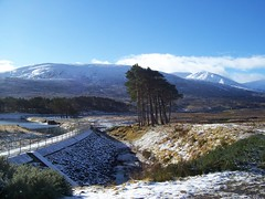 Loch Droma Dam, Highlands of Scotland, Feb 2016 (allanmaciver) Tags: blue trees sky snow cold weather scotland highlands scenery walk dam scatter hydro stop enjoy remote lonely loch curve scheme droma allanmaciver
