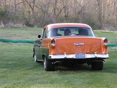 Gasket Goons Hellertown 55 Chevy Bel Air (Speeder1) Tags: street orange black hot classic ford chevrolet car muscle air inspired machine harley chevy pro rod mustang 55 goons davidson bel coupe willys gasket roadster hellertown