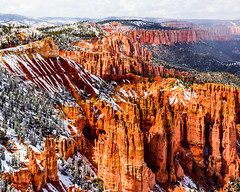 Bryce Canyon 17 (MarcCooper_1950) Tags: trees red sky orange snow colors clouds landscape utah nikon scenery rocks vivid canyon cliffs hills southern boulders hoodoo bryce rainfall hdr formations lightroom mounatins brycecanyonnationalpark geologic d810 marccooper