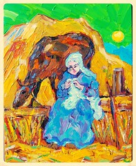 Peasant Girl Sitting Near Her Cow. (Steve.D.Hammond.) Tags: girl cow sitting near her peasant