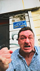 David D'Angers (Dave G Kelly) Tags: street man david sign funny athens greece angry streetname