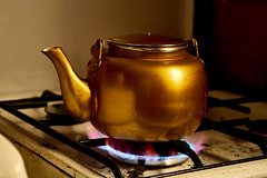 (omaralkamal) Tags: kitchen fire gold oven tea none pot teapot