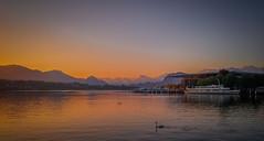 Golden Lucerne morning (chreegou) Tags: morning sun lake gold dawn switzerland see luzern stadt lucerne sonnenaufgang morgen vierwaldstttersee frhling schweizsuisseswitzerland