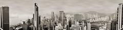 Hong Kong (Alexandre Moreau/Hydroquinone) Tags: city urban blackandwhite hk monochrome sepia hongkong cityscape noiretblanc towers grain lanscape blackandwhitephotography warmtones fujix100s x100s