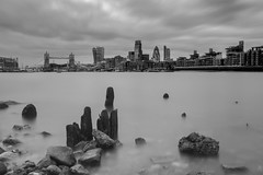 Bermondsey Beach... (JH Images.co.uk) Tags: city longexposure bridge blackandwhite bw london tower thames architecture clouds river tide low le gherkin leadenhall