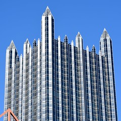Spires...angles...glass...steel (R.A. Killmer) Tags: city blue sky glass skyscraper silver reflections pittsburgh spires ppg