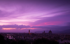Early Evening in Florence (jfusion61) Tags: sky clouds river evening florence purple dusk filter lee domo arno michelangelo palazzo piazzale graduated vecchio 2470mm d810