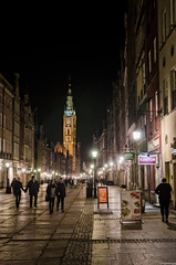 Dlugi Targ Street (pawkopl) Tags: street old red people heritage tourism fountain beautiful architecture night court dark lights town hall nikon dusk postcard main tourists after 28 middle neptune ages gdansk targ 1755 artus dlugi d7000 pawkopl
