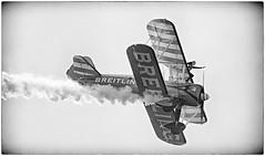Wing Walking (Andy J Newman) Tags: england bristol nikon unitedkingdom balloon wing gb hdr stunt biplane wingwalking aerobatics breitling bristolballoonfestival d7100 silverefex hdrefex backandwhitehdr