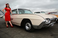 Holly & Ford Thunderbird (Fast an' Bulbous) Tags: santa red summer england woman hot sexy classic ford stockings girl car hair high pod nikon automobile long dress outdoor july gimp babe chick american heels vehicle thunderbird pinup stilettos showshine d7100 dragstalgia