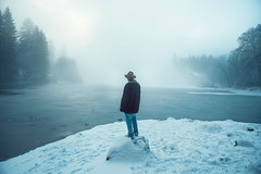 Invisibile (Lorenzo Scudiero) Tags: travel winter boy wild sky italy mist lake snow alps cold love ice hat fog alaska youth clouds america 35mm landscape outdoors woods live breath ngc north dream young adventure tramp authentique