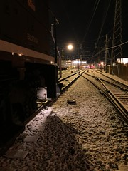 Metro North Stamford Yard (Nurvon Media) Tags: railroad snow night yard locomotive metronorth stamfordct bl20gh
