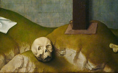 Van der Weyden, The Crucifixion, with the Virgin and Saint John the Evangelist Mourning, detail with skull