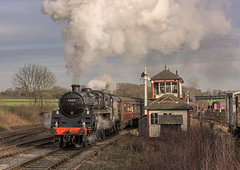 Past the 'Box (4486Merlin) Tags: england europe unitedkingdom derbyshire transport steam signals railways midlands signalbox swanwick gbr midlandrailwaycentre caprotti 73129 heritagerailways exbr brstd5mt460 caprotticrescendo