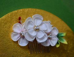 Pale pink plum blossom kanzashi. (Bright Wish Kanzashi) Tags: pink flower art hair asian japanese pin handmade plum style pale ornament fabric ornate fiber technique tsumami kanzashi