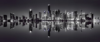 Reflections from the skyline of Miami, Florida, U.S.A. along Biscayne Bay
