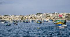 Little Boats (Preston Ashton) Tags: ocean blue sea sky water sunshine boats harbor little ships sunny malta