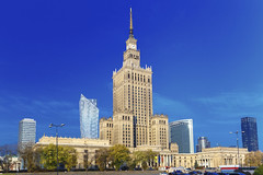 Palace of Culture and Science in Warsaw city downtown, Poland. (SRAS) Tags: city morning travel sky urban building tower heritage history tourism monument architecture modern skyscraper town high construction europe downtown day cityscape tour exterior view symbol outdoor top district centre famous capital sightseeing large culture poland sunny polish landmark center palace science communism business international warsaw financial easterneurope warszawa socialism palackulturyinauki