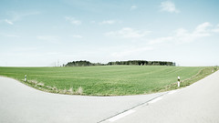 Scenes from Lower Bavaria: In the Middle of Nowhere (panfot_O (Bernd Walz)) Tags: street trees color green field rural forest germany landscape bavaria countryside space fineart wide colorized fields vastness contemplation sideroad transformedlandscape