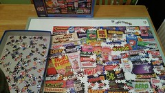 Weve almost completed our puzzle (Carol B London) Tags: puzzle sweets jigsaw 1980s jigsawpuzzle chocs puzzletime