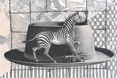 zebra (kurberry) Tags: blackandwhite hat collage blackwhite stripes zebra cutpaste cutandpaste vintageephemera greyhat collageaday