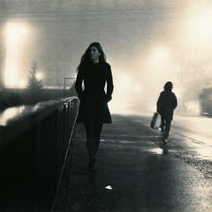 Bridge Walk (raf6x6) Tags: vienna bridge winter woman 120 6x6 film girl beauty fog analog pavement walk grain pentacon six brom biometar moersch slavich eco4812 polysulfid