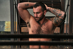 Nick on the fire escape (Violentz) Tags: portrait hairy man male guy body muscle bodybuilding fitness physique tattooed patricklentzphotography
