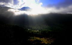 Early Morning (jfusion61) Tags: autumn trees light sky mountains fall clouds sunrise landscape nikon bhutan hike trail valley d750 taktsang paro sunbeams 2470mm