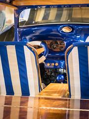 "Interior of ""Shore Break"" hand-built cartoon car (Vironevaeh) Tags: newmexico car albuquerque abq vehicle carshow customcar shorebreak cartooncar supernationalscarshow radicalcar handbuiltwoody"