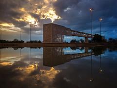 Reflections (Adarsh Kuruvath) Tags: street bridge blue light sunset sky people orange reflection water clouds landscapes pond uae poles iphone 5s