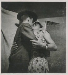 Two young men in costumes embracing (simpleinsomnia) Tags: old gay white man black monochrome vintage found blackwhite costume cross antique snapshot young crossdressing dressing photograph vernacular interest youngman foundphotograph embracing gayinterest