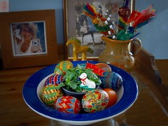 still life with painted Easter eggs (wieruszwierusz) Tags: stilllife easter colorful paintedeggs wieruszwierusz