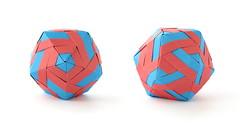 Icosahedron (ronatka) Tags: modularorigami square tomokofuse red blue whitebackground kusudama icosahedron ef50mmf18stm chineseorigamipaper