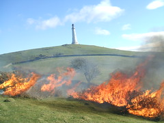 Burning the old vegetation to make way for the new. (Bennydorm) Tags: greatbritain england green monument rural fire countryside scenery flames bluesky burning cumbria vegetation inferno blaze ulverston ablaze furness hoad