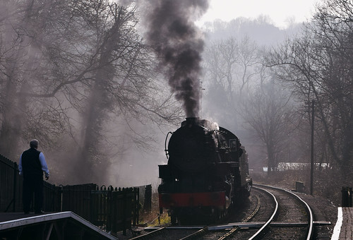 Steam train arrives at Consall Station
