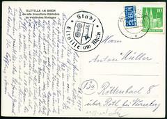 Archiv D759 Eltville am Rhein, Siegel, 26. Juli 1951 (Hans-Michael Tappen) Tags: stamps 1950s rheingau 1951 eltville postkarte deutschepost siegel briefmarken briefmarke 1950er stadtsiegel notopferberlin archivhansmichaeltappen 10pfennigbriefmarke deutschepostbriefmarke steuermarke2pfennig