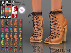 ::ROC:: Rita Heels (HIGH) (ROC FASHION) Tags: pink red brown white black hot sexy classic leather roc boot high cool shoes colorful punk mesh champagne platform sl secondlife footwear heel combat ankle winered fitted slink roscee
