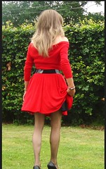 Red dress in the park. (deborah summers2010) Tags: stockings dress slip