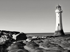 New Brighton Lighthouse, England. (pdean1) Tags: blackandwhite lighthouse sandstone rippled newbrighton