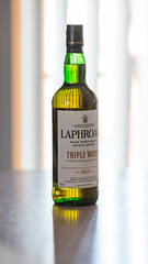 Laphroaig Triple Wood (Jemlnlx) Tags: wood canon lens eos bottle mark iii liquor single l whisky 5d f2 scotch usm triple ef laphroaig 135mm malt