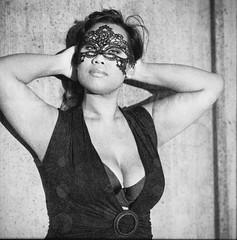 [ M ] ystic (Da Niel Photo) Tags: portrait blackandwhite bw woman contrast mediumformat concrete dress mask 120film filmsnotdead zenzabronicas2 lomographybw tpvp shootfilmnotpixels twinpeakvalleyphotography