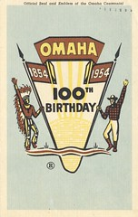 NE, Omaha - Official Seal and Emblem of the Omaha Centennial - Omaha, Nebraska (The Cardboard America Archives) Tags: vintage centennial nebraska postcard 1954 omaha