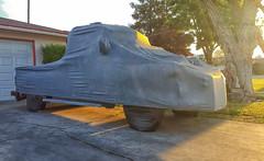 SHROUDED (akahawkeyefan) Tags: truck sunrise glow driveway cover covered tarp kingsburg davemeyer