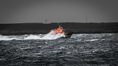 Colour v Mono (MBDGE) Tags: ocean sea rescue orange canon mono scotland boat orkney wind alba north wave spray lifeboat rough kirkwall rnli 70d