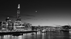 London_9X7A0381_GS (timbertree9) Tags: england sky blackandwhite cloud moon london glass monochrome metal skyline architecture night clouds skyscraper canon reflections river outdoors nightscape unitedkingdom outdoor capital cranes financialdistrict 7d skyatnight greyscale mkii thethames thelloydsbuilding theshard cheesegraterbuilding parabolicskyscraper