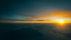 Sunset over Northern Greece (Soupmeister) Tags: sunset sea aerial greece toned evia volos pilio