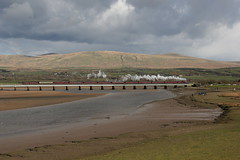 LMS Stanier 6P5F No. 45699 'Galatea' crosses Eskmeals Viaduct with the 1Z53 return leg of WCRC 'Spirit of The Lakes' railtour from Bridlington to Carlisle on 16th April 2016.  (steamdriver12) Tags: england west heritage coast no smoke leg lakes crosses railway steam viaduct company cumbria return oil april railtour coal 16th carlisle bridlington preservation the lms mainline furness 2016 galatea eskmeals stanier 45699 wcrcspirit 5f6p