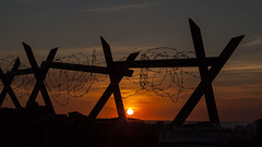 Sunset in the trenches (Simon Bone Photography) Tags: sky sun army war cornwall wwii barbedwire ww2 base cornishsunsets canoneos5dmkii canonef24105mmlf4 wwwsimonbonephotographycouk sunsetinthetrenches